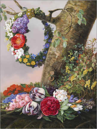 Acrylic print  Bouquet of flowers at the foot of a tree - Christine Løvmand