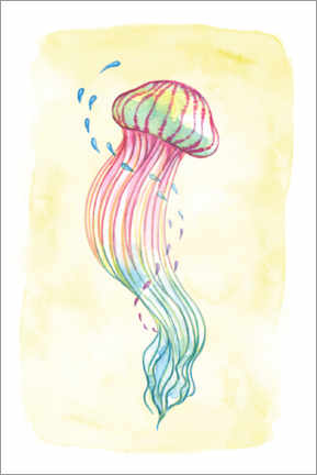 Wall sticker  Jellyfish in the ocean waves - Leonora Camusso