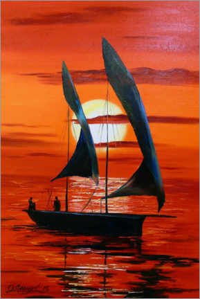 Premium poster Sailboat at sunset