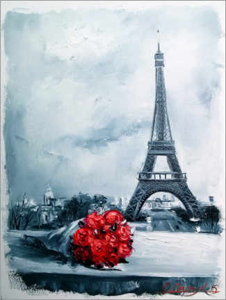 Premium poster Red roses for loved ones