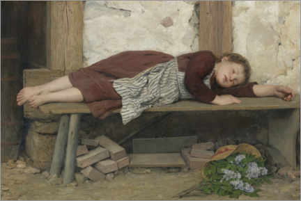 Premium poster Sleeping girl on a wooden bench