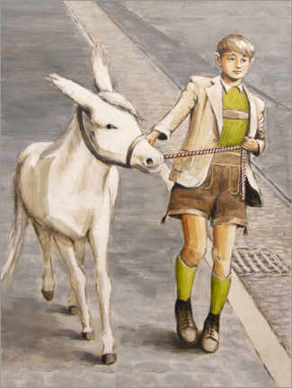 Canvas print  Boy with Donkey - Sarah Morrissette