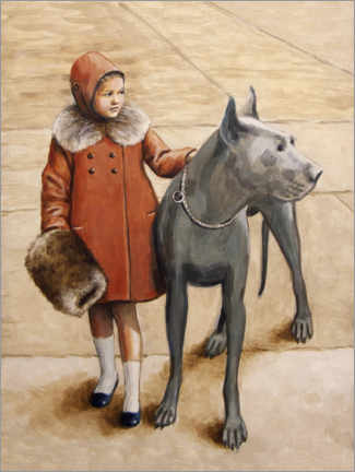 Gallery print  Girl withGreat Dane PL - Sarah Morrissette