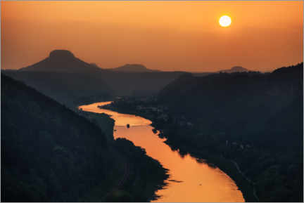Premium poster  Evening sun over the Elbe (Lilienstein) - Wanderkollektiv