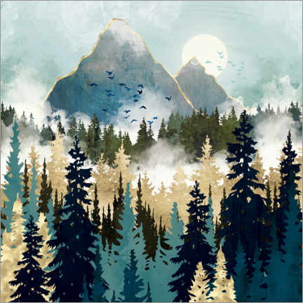 Acrylic print  Misty Pines - SpaceFrog Designs
