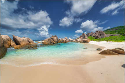 Foam board print  Beach with bay on the Seychelles in the Indian Ocean - Mandfred Voss