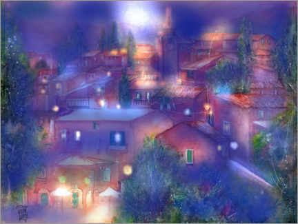 Premium poster Roussillon Provence in the moonlight