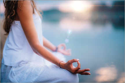Premium poster  Woman meditates by a lake - MICROGEN IMAGES