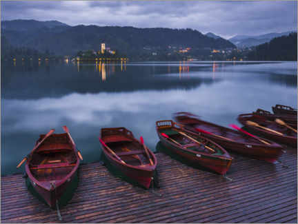 Premium poster  Lake Bled Island and Church with Traditional Rowing Boats in Slovenia - Matthew Williams-Ellis