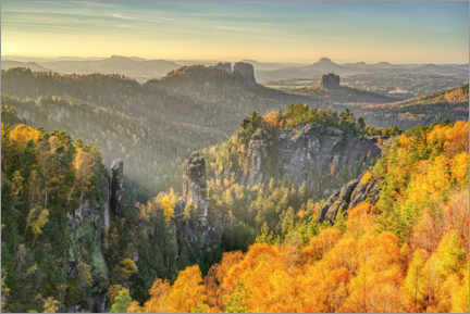 Premium poster  View from the Carolafelsen in Saxon Switzerland - Michael Valjak