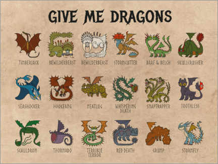 Canvas print  Give Me Dragons - Breeds of Dragon