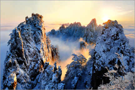 Premium poster Sunrise on Mount Huang Shan