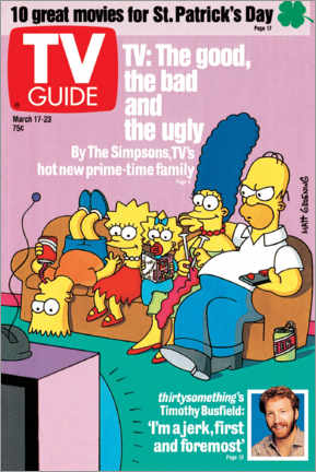 Foam board print  THE SIMPSONS - Bart, Lisa, Maggie, Marge and Homer - TV Guide