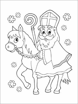 Colouring poster Nicholas on the horse