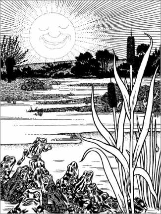 Colouring poster  The sun and the frogs