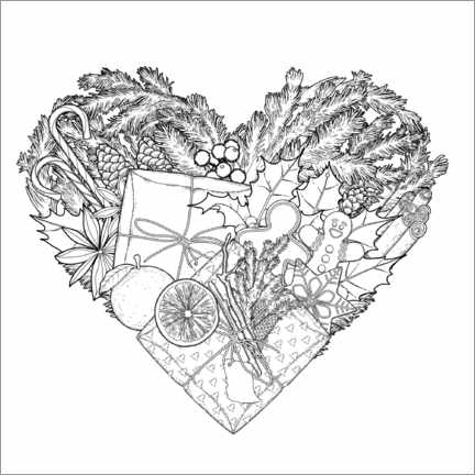 Colouring poster Christmas heart
