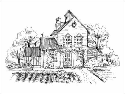 Colouring poster  Small house in the countryside
