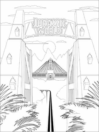 Colouring poster  Jurassic World Gate