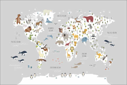 Premium poster  World map with animals (grey) - Marta Munte