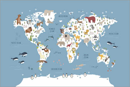 Premium poster World map with animals (blue)