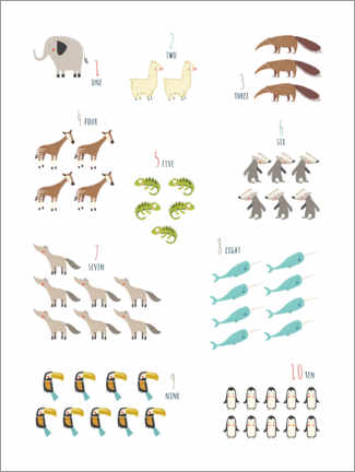 Premium poster  Numbers 1 to 10 with animals - Marta Munte
