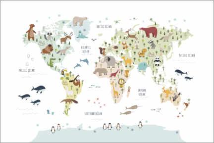 Premium poster  World map with animals (white) - Marta Munte