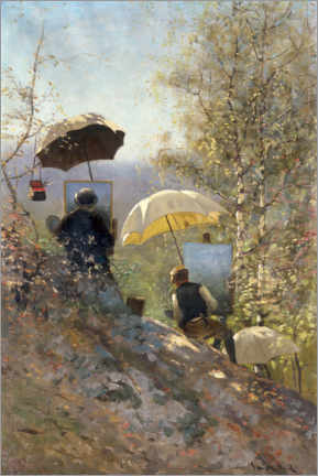 Wall sticker  Otto Sinding and Johannes Grimelund painting outdoors - Frithjof Smith-Hald