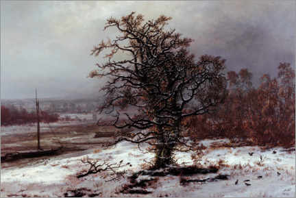 Gallery print  Oak on the Elbe in winter - Johan Christian Clausen Dahl