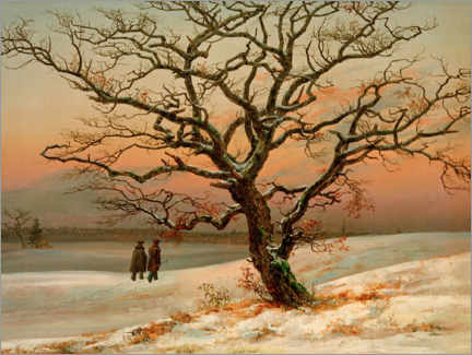 Foam board print  The old oak in winter - Johan Christian Clausen Dahl