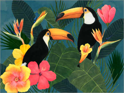 Canvas print  Toucans in the tropical sea of flowers - Grace Popp