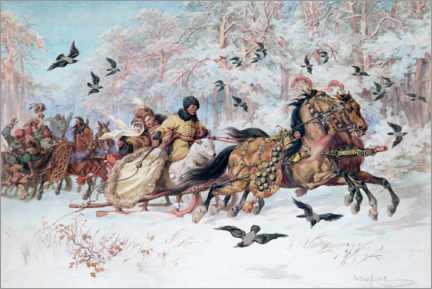 Wood print  Olenka and Kmicic in a sleigh - Juliusz Kossak