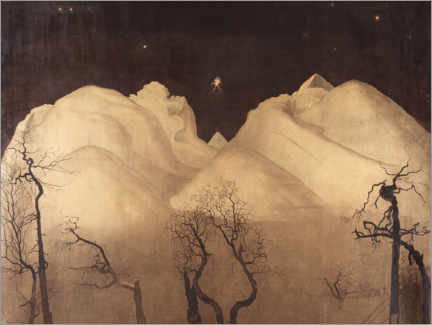 Foam board print  Winter night in the mountains - Harald Oscar Sohlberg