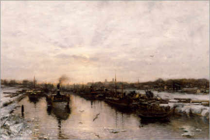 Canvas print  Neuss harbor in winter - Ludwig Munthe