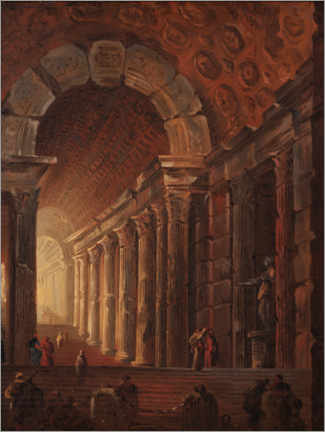 Foam board print  An arched staircase, a piece of architecture - Johan Gottlob Brusell