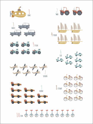 Premium poster Numbers 1 to 10 with vehicles