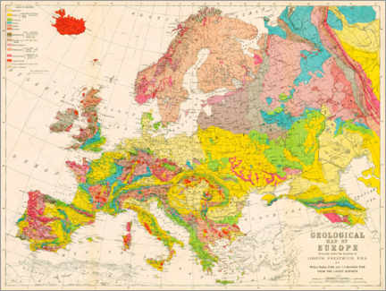 Acrylic print  Geological map of Europe around 1860 - American Philosophical Society
