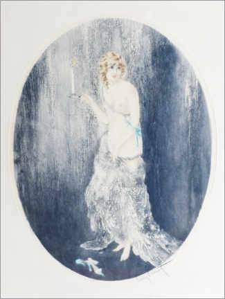 Wood print  The elegant one with the candle - Louis Icart