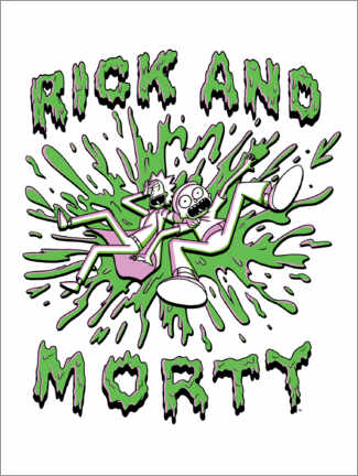 Wood print  Rick and Morty - Crazy green