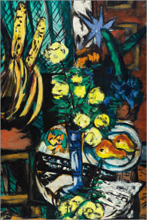 Acrylic print  Still life with yellow roses - Max Beckmann
