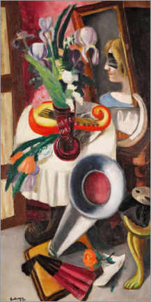 Wall sticker  Still life with gramophone and irises - Max Beckmann