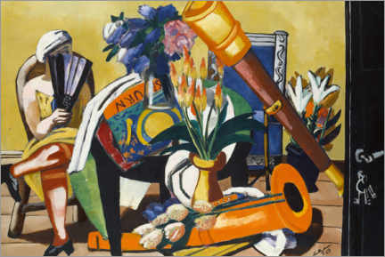 Premium poster  Large still life with telescope - Max Beckmann