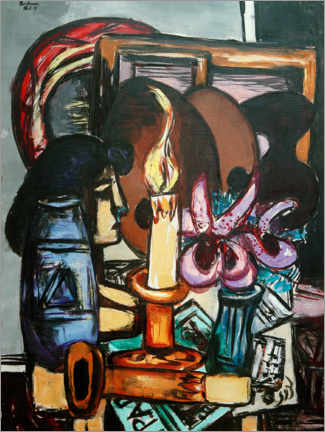 Gallery print  Still life with two large candles - Max Beckmann