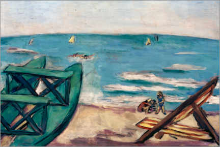 Wall sticker  Beach with boat and deck chair - Max Beckmann