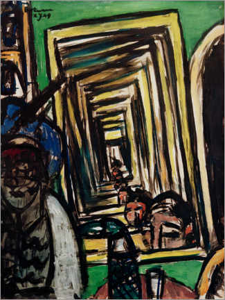 Gallery print  Cafe interior with game mirror - Max Beckmann