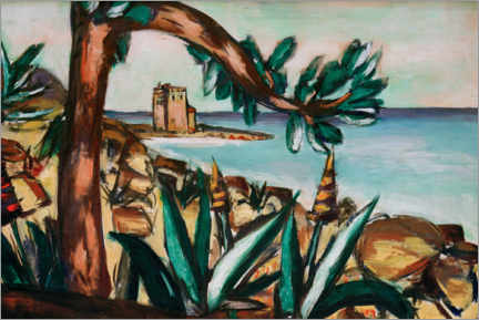 Premium poster Seascape with an old castle and agaves