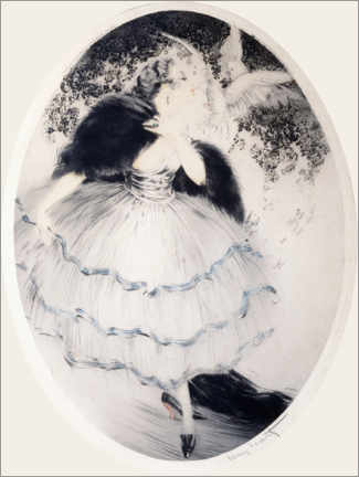Gallery print  Lady with two pigeons - Louis Icart