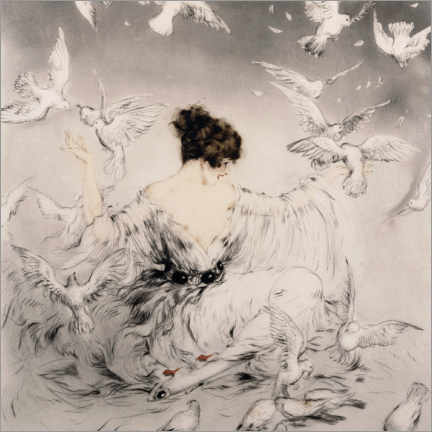 Canvas print  Girl with pigeons - Louis Icart
