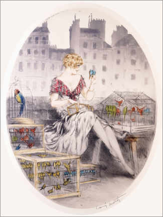 Gallery print  Girl with budgies - Louis Icart