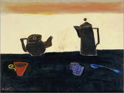 Wood print  Still life with a teapot and a coffee maker - Henri Hayden