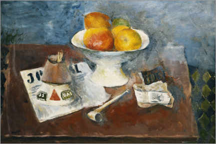 Canvas print  Still life with a pipe and newspaper - Henri Hayden